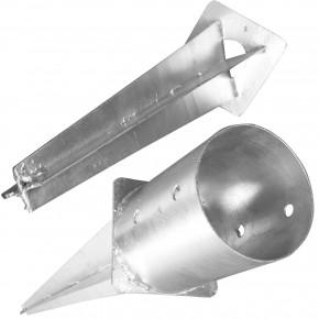 1 Einschlagbodenhülse feuerverzinkt für Ø 140mm runde Pfosten Tiefe 750mm B-Ware