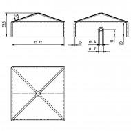 10 GAH Pfostenkappen flach Stahl feuerverzinkt 71x71 mm