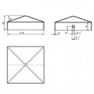 1 GAH Pfostenkappe flach Stahl feuerverzinkt 91x91 mm