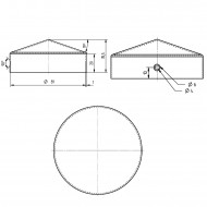 1 GAH Pfostenkappe rund, Ø 80mm, Stahl feuerverzinkt