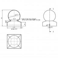 1 Pfostenkappe mit Kugel Edelstahl A2 71x71 mm