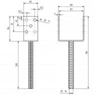 1 GAH U-Pfostenträger mit Riffeldolle feuerverzinkt 100x200 mm
