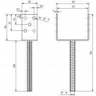 1 GAH U-Pfostenträger mit Riffeldolle feuerverzinkt 120x200 mm