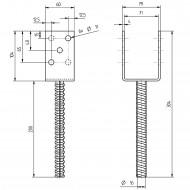 1 GAH U-Pfostenträger mit Riffeldolle feuerverzinkt 70x200 mm