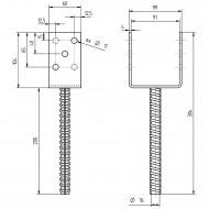 1 GAH U-Pfostenträger mit Riffeldolle feuerverzinkt 90x200 mm
