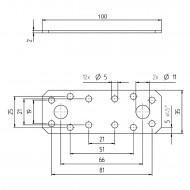 1 GAH Flachverbinder Edelstahl A2 100 x 35 x 2mm