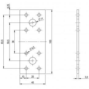 10 Standard Flachverbinder feuerverzinkt 100x40x3,0