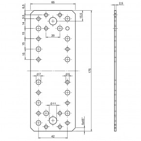 50 Standard Flachverbinder feuerverzinkt 175x65x2,5