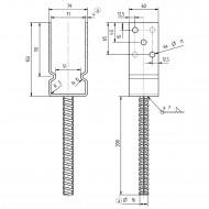 1 GAH U-Pfostenträger mit Dolle 200mm feuerverzinkt mit Auflage 60mm für 70mm