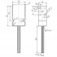 1 GAH U-Pfostenträger mit Dolle 200mm feuerverzinkt mit Auflage 60mm für 90mm