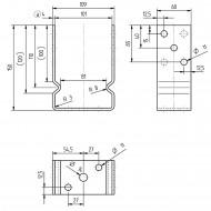 1 GAH U-Pfostenträger aufdübelbar feuerverzinkt, mit Auflage 60 mm für 100 mm