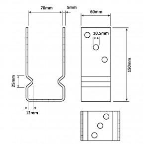 1 U-Pfostenträger aufdübelbar, feuerverzinkt, 5 mm / 60 mm, für 70 mm Pfosten