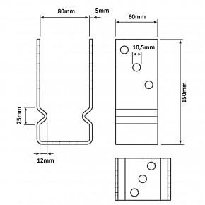 1 U-Pfostenträger aufdübelbar, feuerverzinkt, 5 mm / 60 mm, für 80 mm Pfosten