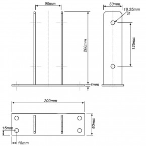 1 U-Pfostenträger aufdübelbar, feuerverzinkt, Grundplatte 60 x 200 mm, für 90 mm Pfosten