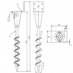 1 L-Pfostenträger für Balken - 90mm, feuerverzinkt, zum Einschrauben 480mm