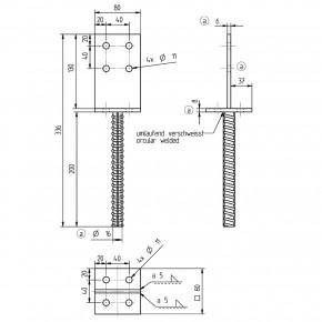 1 GAH T-Pfostenträger feuerverzinkt mit 200mm Riffeldolle für >=80 mm