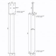 1 GAH T-Pfostenträger feuerverzinkt mit 500mm Rohrdolle für >=90 mm