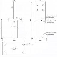 1 GAH T-Pfostenträger feuerverzinkt zum aufdübeln Höhe 150 mm für >=90 mm