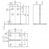 1 GAH T-Pfostenträger feuerverzinkt zum aufdübeln für >=80 mm