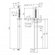 1 GAH I-Pfostenträger-Schraube feuerverzinkt mit 400mm Rohrdolle für >=70 mm