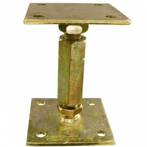 1 Pfostenträger, 2 Trägerplatten, gelb verzinkt, aufdübelbar, höhenverstellbar >=100 mm
