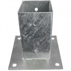 1 Aufschraubhülse, Grundplatte 150 x 150 mm, 2 mm Materialstärke, feuerverzinkt, für 70 mm Pfosten