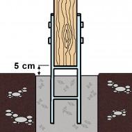1 H-Pfostenträger feuerverzinkt verstärkt 5,5/600 mm für 140 mm Pfosten