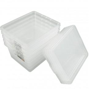 5 Kunststoffboxen 2,3 Liter mit Deckel, Polypropylen, 205 x 170 x 100 mm