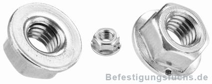 DIN 6923 M4 - SC-Normteile Sechskantmuttern mit Flansch und Sperrverzahnung 5 St/ück - SC6923 Edelstahl A2 V2A - Flanschmuttern