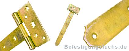 Kreuzgehänge halbschwer gelb verzinkt in verschiedenen Detailansichten
