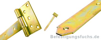 Kreuzgehänge schwer gelb verzinkt in verschiedenen Detailansichten