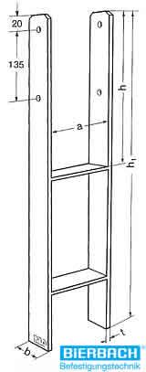 befestigungsset f r 2 stck pfostentr ger typ h 100 mm ebay. Black Bedroom Furniture Sets. Home Design Ideas