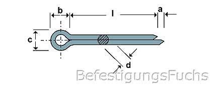 10 Stück Splinte Stecker DIN 94 ISO 1234 5,0 x 63 mm in Stahl verzinkt